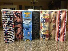 "These are upcycled Pringles cans to use for safely shipping cookies in care packages overseas. Fabric squares cut 9.5"" x 9.25"" + spray adhesive and voila! Minimally crumbled cookies upon arrival. Hint: do a trial batch of cookies first to make sure they will fit. The smaller in diameter, the better. Also great for Christmas cookies. Just switch from Patriotic fabric to Christmas fabric."