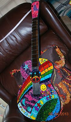 MOSAIC PEACE SIGN GUITAR WALL ART STAINED GLASS PEACE LOVE DOVE STAR OF PEACE SIGN RARE & COOL