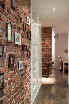 Stylish 40 Brilliant Wall Stone Design Ideas For Luxury Home Interior Brick Accent Walls, Red Brick Walls, Brick Interior, Interior Design Living Room, Design Your Home, House Design, Stone Wall Design, Small Apartment Design, Brick Architecture