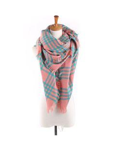 Soft Jacquard Design Plaid Pattern Stripe Square Scarf For Women Pink