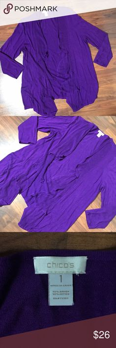"""Chicos Plum Open Front Tiered Cardigan SZ 1 Med Chicos Plum purple open front tiered waterfall knit cardigan SZ 1, Medium, US 8. Good condition, normal signs of wear and wash (slight fading). 34"""" bust, 27"""" Length. Chico's Sweaters Cardigans"""