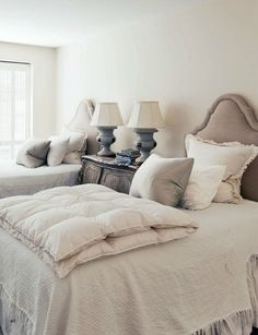 soothing bedroom color palette...gray, cream and white
