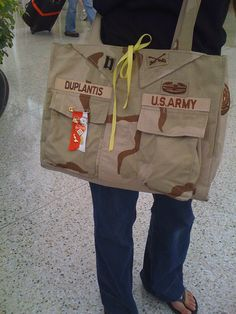 Tote bag made from repurposed Army uniform | While I was wai… | Flickr