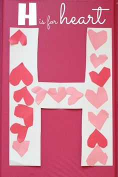 Super Simple- H is for Heart Alphabet Craft. We used heart shaped foam stickers. Perfect craft for both my 1yo and 3yo.