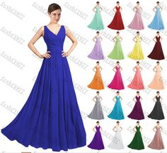 Long Chiffon Formal Lace Evening Ball Gown Party Prom Bridesmaid Dress Size 6-22  | eBay