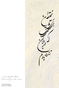 """Persian (Farsi) translation of """"I am the fire that lives only in the rain."""" Original Persian (Farsi) calligraphy by Stewart J. Thomas on marbled paper."""