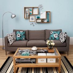 black, white, and teal living room