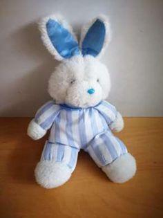 Doudou Lapin Pampers Blanc bleu N a plus son etiquette, peluche un peu reche