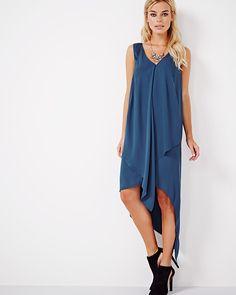 Sleeveless crepe high-low maxi dress