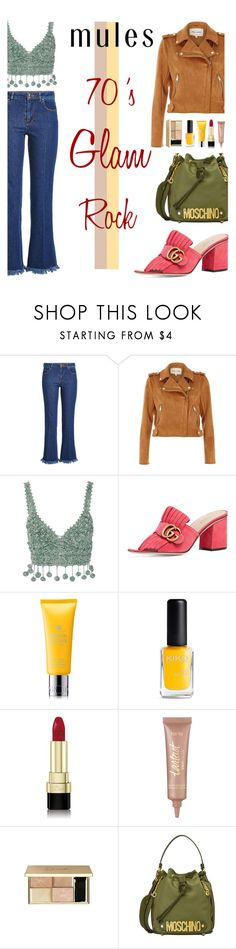 """Slip 'Em On: Mules Contest"" by keepfashion92 ❤ liked on Polyvore featuring Sonia Rykiel, River Island, Rosie Assoulin, Gucci, Molton Brown, Dolce&Gabbana, tarte and Moschino"
