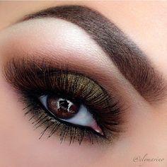 Olive and brown shadow makeup eyes, eye makeup, color combos, eyeshadow, oliv, beauti, makeup looks, fall makeup, green eyes