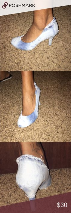 Customized denim shoes Flirty denim pump handcrafted for both casual and dressy occasions! Kelly & Katie Shoes Heels