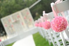 wedding ceremony, pink, flowers