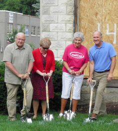 Groundbreaking ceremony at Naperville Woman's Club to remove architectural barriers to Naperville's Landmark Building. Honorees, left to right, David Redkstad Sequoia General Contracting, NWC President Julie Cunningham, Benefactor Barbara Crockett, and Naperville Mayor, the Honorable Steve Chirico. http://www.napervillewomansclub.org/