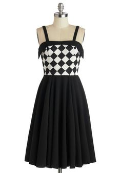 Chess Friends Forever Dress - Long, Knit, Black, White, Checkered / Gingham, Party, A-line, Spaghetti Straps, Better, Pleats, Rockabilly, Vi...