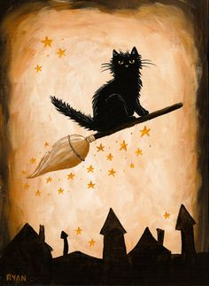 Spreading Halloween Cheer Original Black Cat Halloween Folk Art Painting by KilkennycatArt