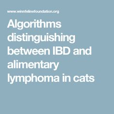 Algorithms distinguishing between IBD and alimentary lymphoma in cats