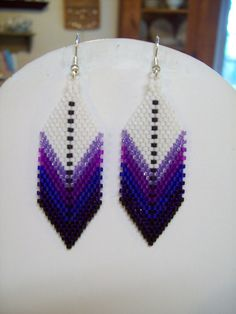 Native American Style Beaded Feather Earring by BeadedCreationsetc