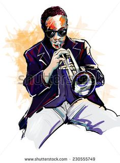Vector illustration of a trumpet player - stock vector