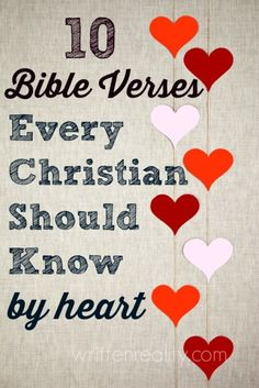 Memory Verses: 10 Bible Verses Every Christian Should Know by Heart Memory Verses: Looking for a great place to start memorizing Scripture? Here are 10 Bible Verses Every Christian Should Know by Heart Bible Scriptures, Bible Quotes, Scripture Verses, Quotes Quotes, Healing Scriptures, Bible Prayers, Heart Quotes, Scripture To Memorize, Chalkboard Bible Verses