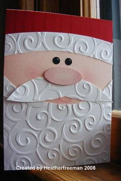 Cuttlebug Santa Face Card by heather freeman - Cards and Paper Crafts at Splitcoaststampers