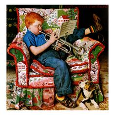 """""""Trumpet Practice"""" by Norman Rockwell for The Saturday Evening Post cover (info verified). Norman Rockwell Prints, Norman Rockwell Paintings, Peintures Norman Rockwell, Painting Prints, Canvas Prints, Retro, Grandma Moses, Illustration Noel, Saturday Evening Post"""