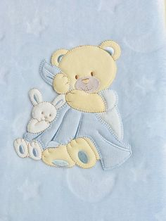 Cuddly blanket with name baby blanket blanket baptism bear gift ideas Wool Embroidery, Machine Embroidery, Embroidery Designs, Baby Design, Baby Pullover Muster, Baby Sweater Patterns, Baby Boutique Clothing, Little Boy Blue, Bunny Art