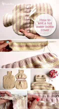 FREE tutorial: How to knit a hot water bottle cover with Learn with Leanne on Lo. FREE tutorial: How to knit a hot water bottle cover with Learn with Leanne on LoveKnitting. Diy Crochet And Knitting, Crochet Motifs, Free Knitting, Yarn Crafts, Sewing Crafts, Water Bottle Covers, Knitted Blankets, Bottle Crafts, Knitting Projects