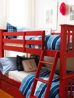 How cute are these fire-engine red bunk beds? More kid-friendly spaces: http://www.bhg.com/rooms/kids-rooms/?socsrc=bhgpin072312redbunkbeds
