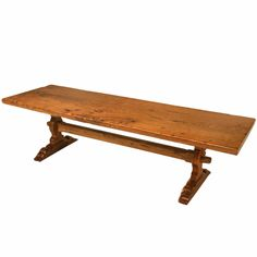 Spectacular Solid Antique French Oak One Board Top Trestle Farm Table, 19th c.