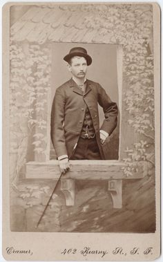 ca. 1855-95, [carte de visite portrait of a dispassionate gentleman standing behind studio prop window], Charles Lake Cramer via the Yale Collection of Western Americana, Beinecke Rare Book and Manuscript Library, Carl Mautz Collection