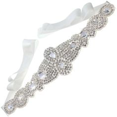 CB Accessories Wedding Dress Sash Bridal Belt Crystal Beaded Satin... (43 NZD) ❤ liked on Polyvore featuring accessories, belts, bridal belts, satin ribbon belt, off white belt, ribbon sash belt and satin belt