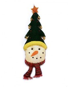 Snowmen with Green Christmas Tree Hat Wool Felted Applique Ornament | Little Handcrafts