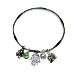 Good Luck Charm Bangle Elephant Four Leaf Clover Hamsa Charm Bracelet by CloudNineDesignz