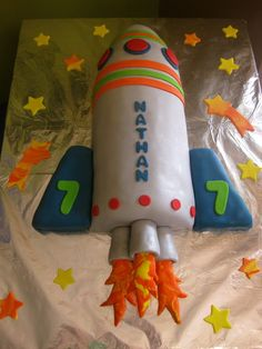 Rocket cake- I think this shape could be made with two round cakes cut in half with a bowl cake halved for the top and quartered for the fins on the sides...