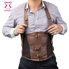 Brown Faux Leather and Brocade Halter Men Underbust Corset Steel Bone Waist Slimming Corsets Mens Steampunk Vest Gothic Clothing