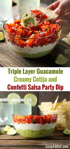 Make your party appetizer table extra special with this beautiful layered, guacamole, creamy cotija and confetti salsa party dip | SoupAddict.com