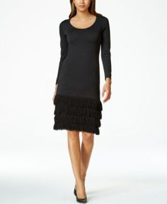 Calvin Klein Shag-Fringe Sheath Dress