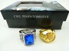 THE NUMBER ONE THING FOR MY BIRTHDAY!!!! New Black butler Kuroshitsuji Ciel Phantomhive Cosplay 2 Ring Set found it on ebay for less then 10$ !