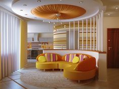 ceiling design with pop of color