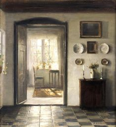 Artwork by Carl Vilhelm Holsøe, The sunlit room, Made of oil on canvas Interior Paint, Interior And Exterior, Art Society, Room Paint, Oeuvre D'art, Monet, Painting & Drawing, Drawing Room, Contemporary Art