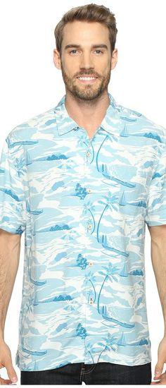 Tommy Bahama Ohana Outrigger Short Sleeve Woven Shirt (Maui Blue) Men's Short Sleeve Button Up - Tommy Bahama, Ohana Outrigger Short Sleeve Woven Shirt, T315693-400, Apparel Top Short Sleeve Button Up, Short Sleeve Button Up, Top, Apparel, Clothes Clothing, Gift, - Street Fashion And Style Ideas