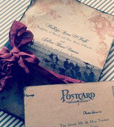 Wedding Invitation Invitations Black Lace and burgundy Handmade Wedding Bridal Shower Invitations via Etsy