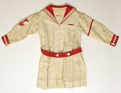 Little girl's red and white linen sailor dress, by Peter Thomson, American, 1910-1920.