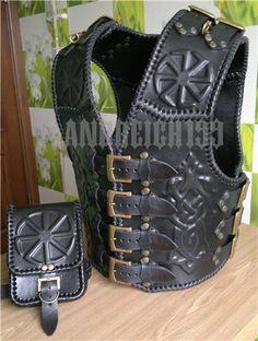 Leather Biker Vest, Leather Armor, Leather Tooling, Motorcycle Vest, Biker Gear, Bobber Helmets, Cosplay Armor, Medieval Fashion, Body Armor