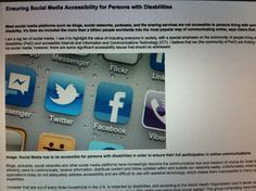 Photo of a web site page which talks about Social Media Accessibility for Persons with Disabilities Communication, Digital Citizenship, Disability, Rooms, Social Media, Bedrooms, Social Networks, Communication Illustrations, Social Media Tips