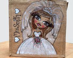 Custom Designed Jute Bag for Brides Wedding Day
