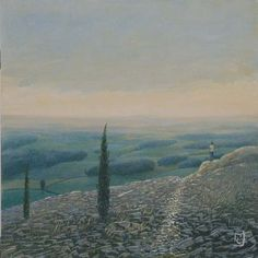 "Philippe Charles Jacquet, Le point de vue, Oil on Board, 15"" x 15"" #art #surreal #dream #axelle"