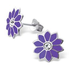 Quality 925 Sterling Silver Earrings - Purple 10 Petal Flower Studs w/ CZ - 11mm in Jewellery & Watches, Costume Jewellery, Earrings | eBay