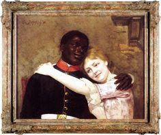 Der schwarze Militärmusiker Gustav Sabec al Cher und seine Verlobte Gertud Perlig auf einem Gemälde des Berliner Malers Emil Doerstling.